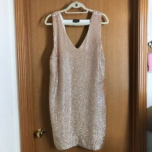 Gorgeous Rose Gold Sequin Topshop Dress Sz 12